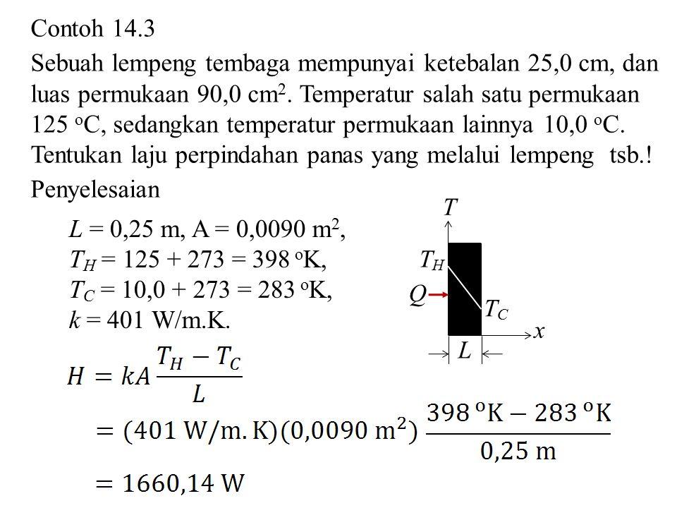 Contoh 14.3 Sebuah lempeng tembaga mempunyai ketebalan 25,0 cm, dan luas permukaan 90,0 cm 2. Temperatur salah satu permukaan 125 o C, sedangkan tempe