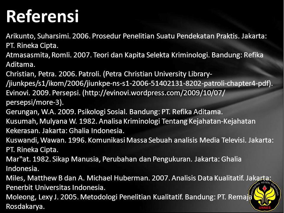 Referensi Arikunto, Suharsimi. 2006. Prosedur Penelitian Suatu Pendekatan Praktis. Jakarta: PT. Rineka Cipta. Atmasasmita, Romli. 2007. Teori dan Kapi