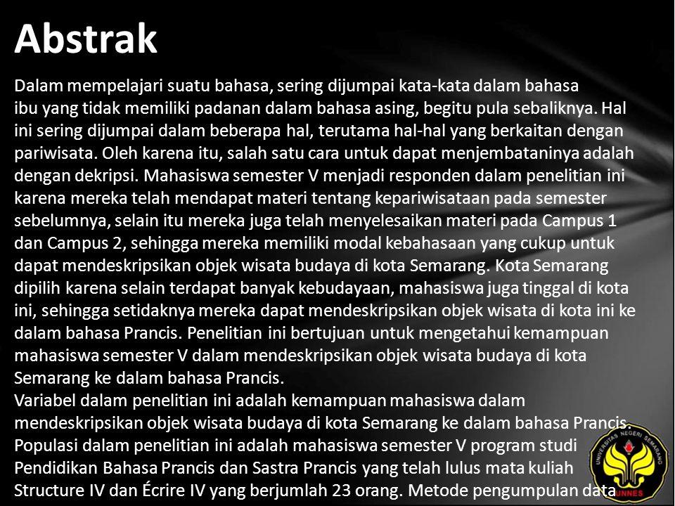 Kata Kunci Mendeskripsikan, objek wisata budaya, Bahasa Prancis, Pariwisata, Kota Semarang