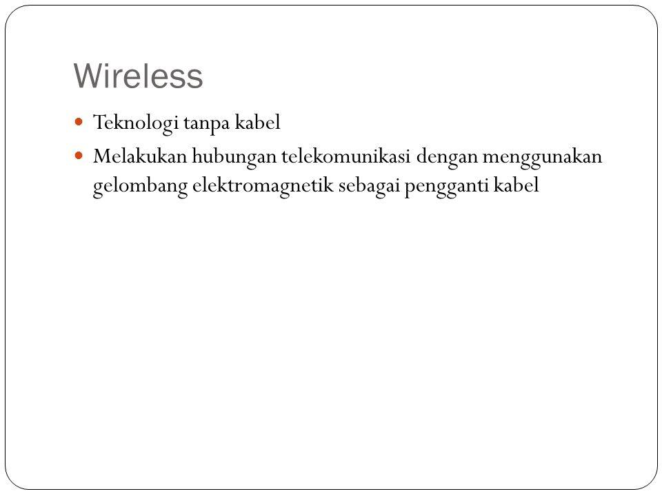 Praktikum Membuat dan konfigurasi Wireless LAN Perangkat yang dibutuhkan: Topologi Infrastruktur - Komputer dengan wireless adapter atau laptop dengan fitur Wifi - Access point Topologi ad hoc - 2 komputer dengan wireless adapter atau laptop dengan fitur Wifi