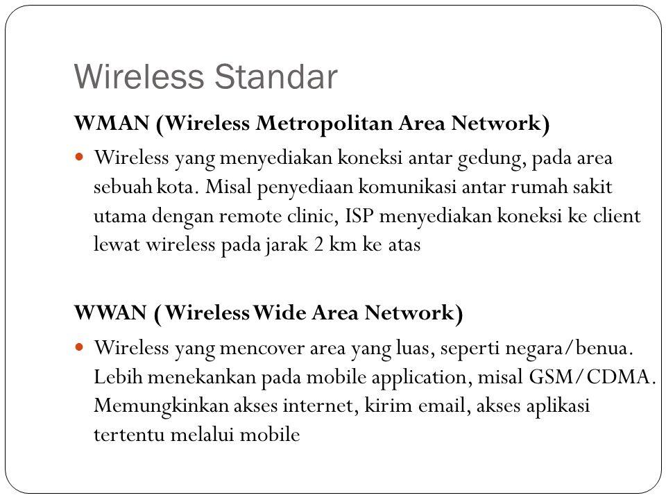 Wireless Standar WRAN (Wireless Regional Area Network) Merupakan Wireless Standar Eropa untuk remote broadband access pada coverage area 20 km dengan memanfaatkan gelombang VHF/UHF TV