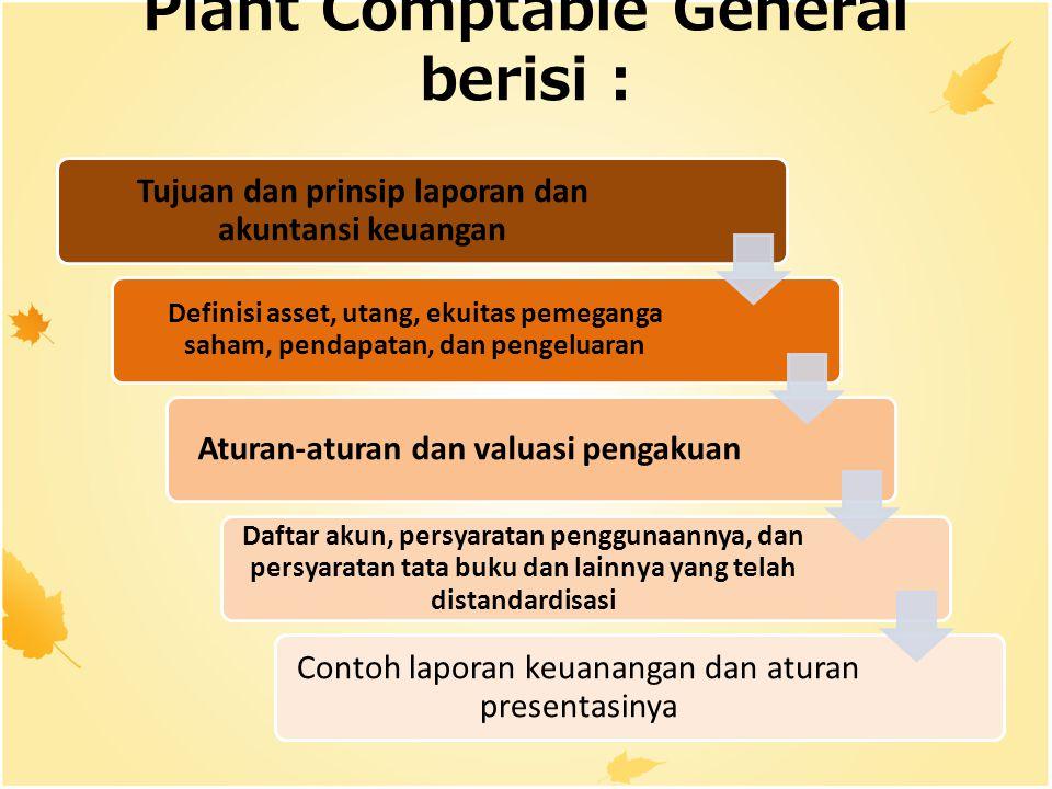 Plant Comptable General berisi : Tujuan dan prinsip laporan dan akuntansi keuangan Definisi asset, utang, ekuitas pemeganga saham, pendapatan, dan pen