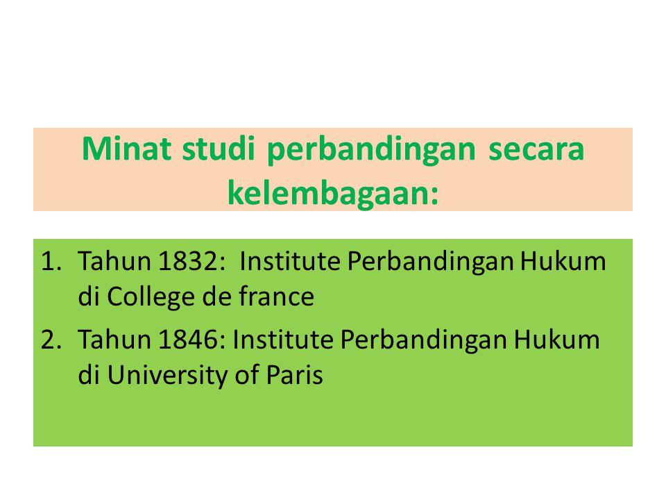 Minat studi perbandingan secara kelembagaan: 1.Tahun 1832: Institute Perbandingan Hukum di College de france 2.Tahun 1846: Institute Perbandingan Huku