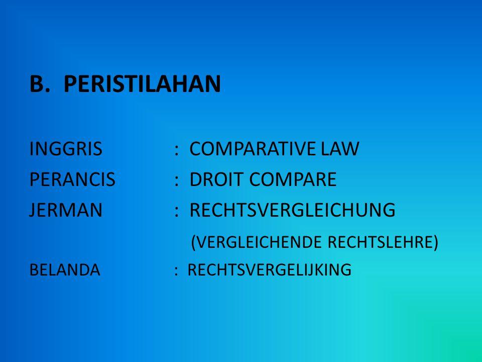 B. PERISTILAHAN INGGRIS: COMPARATIVE LAW PERANCIS: DROIT COMPARE JERMAN: RECHTSVERGLEICHUNG (VERGLEICHENDE RECHTSLEHRE) BELANDA: RECHTSVERGELIJKING