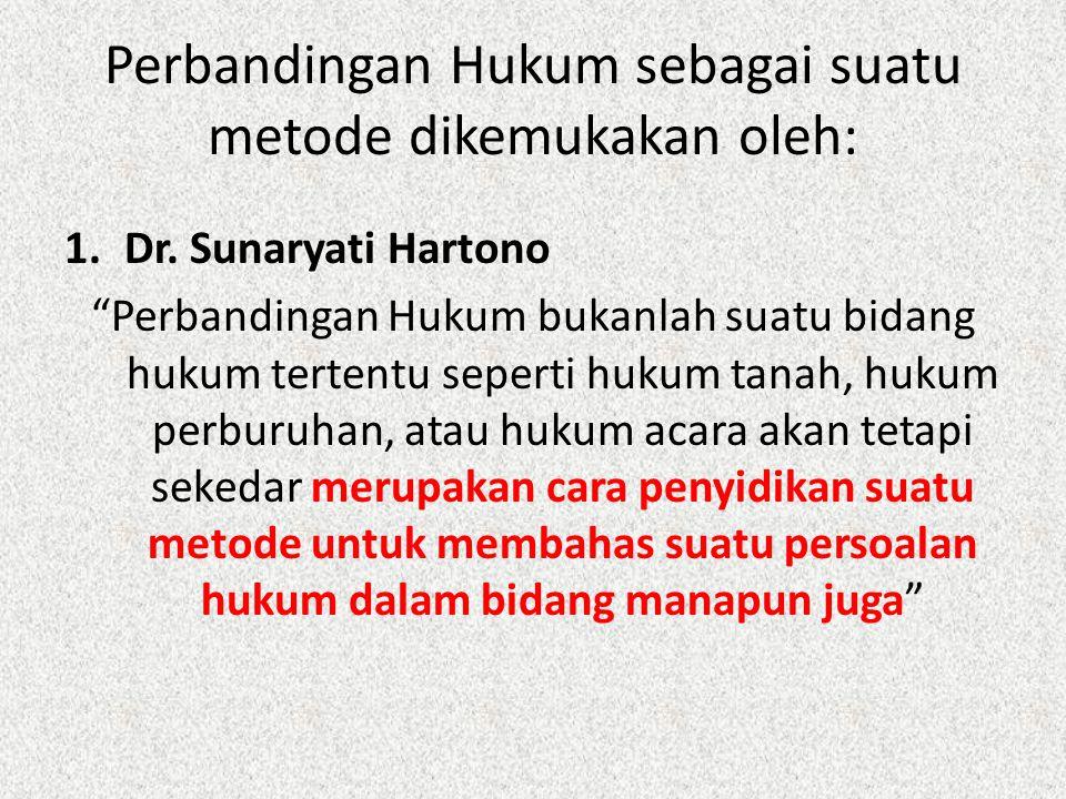 "Perbandingan Hukum sebagai suatu metode dikemukakan oleh: 1.Dr. Sunaryati Hartono ""Perbandingan Hukum bukanlah suatu bidang hukum tertentu seperti huk"