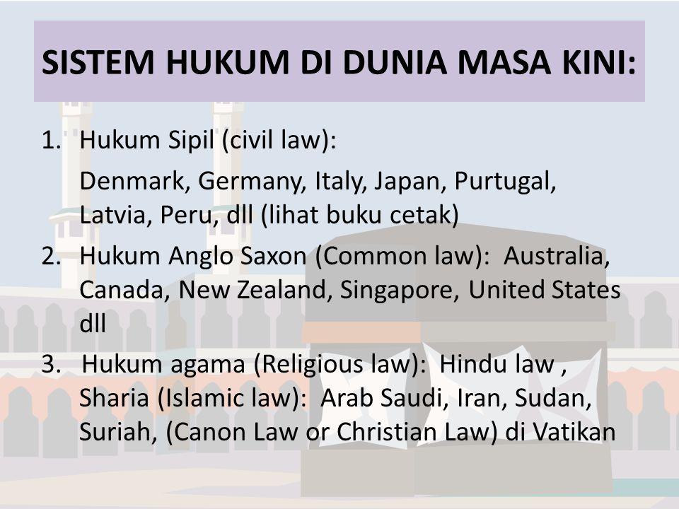 SISTEM HUKUM DI DUNIA MASA KINI: 1.Hukum Sipil (civil law): Denmark, Germany, Italy, Japan, Purtugal, Latvia, Peru, dll (lihat buku cetak) 2.Hukum Anglo Saxon (Common law): Australia, Canada, New Zealand, Singapore, United States dll 3.