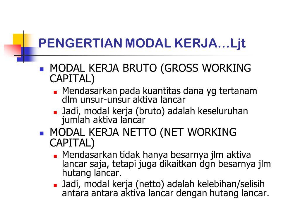 JENIS-JENIS MODAL KERJA A.MODAL KERJA PERMANEN (PERMANENT WORKING CAPITAL) Modal kerja yg harus tetap ada di perusahaan utk menjalankan fungsinya.