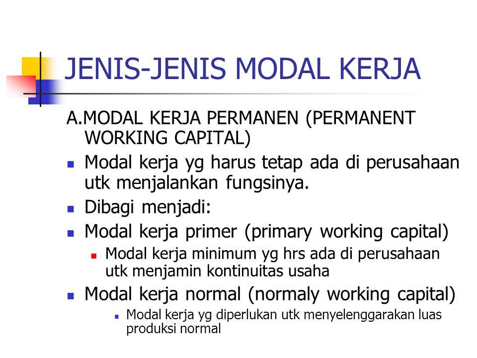 JENIS-JENIS MODAL KERJA A.MODAL KERJA PERMANEN (PERMANENT WORKING CAPITAL) Modal kerja yg harus tetap ada di perusahaan utk menjalankan fungsinya. Dib