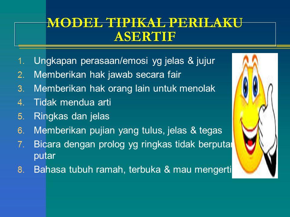 MODEL TIPIKAL PERILAKU ASERTIF 1. Ungkapan perasaan/emosi yg jelas & jujur 2. Memberikan hak jawab secara fair 3. Memberikan hak orang lain untuk meno