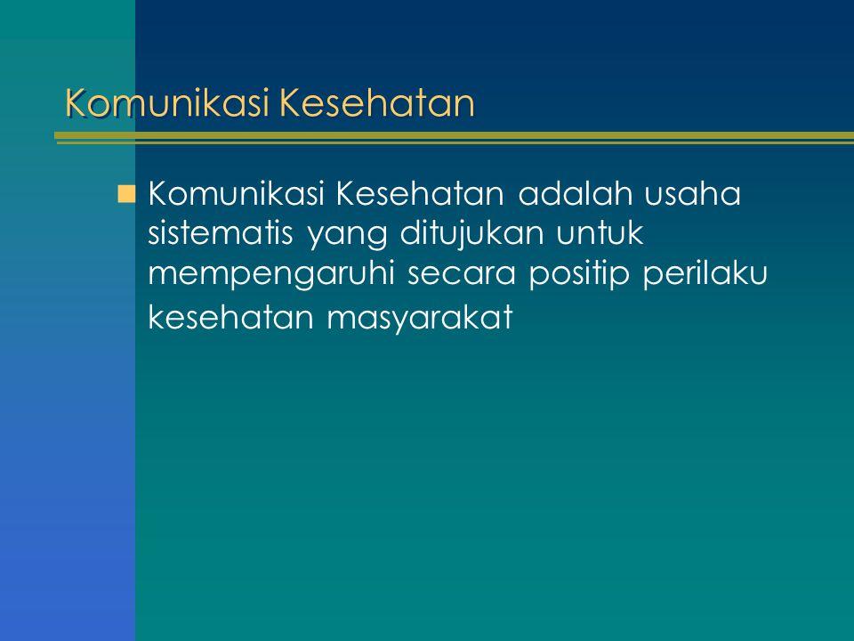 Komunikasi Kesehatan Komunikasi Kesehatan adalah usaha sistematis yang ditujukan untuk mempengaruhi secara positip perilaku kesehatan masyarakat