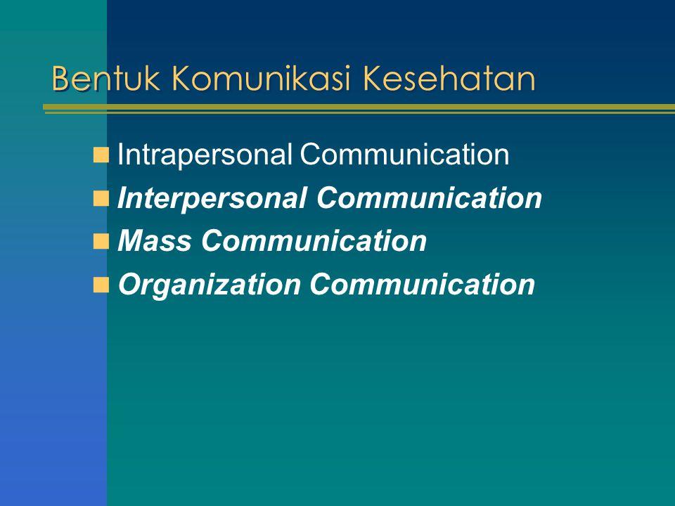 Interpersonal Communication Komunikasi Interpersonal adalah komunikasi antar pribadi dan bersifat langsung ( face to face communication ) Dibidang Kesehatan komunikasi interpersonal terjadi antara health provider dengan client Efektivitas komunikasi Interpersonal sangat tergantung pada adanya :  Empathy  Respect  Kejujuran
