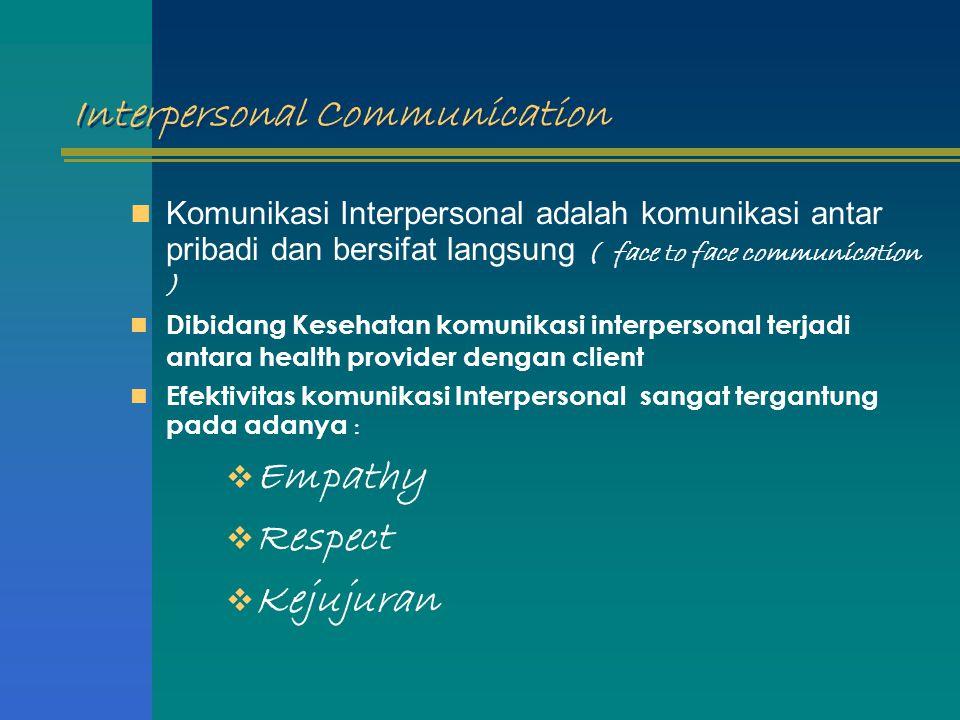 Interpersonal Communication Komunikasi Interpersonal adalah komunikasi antar pribadi dan bersifat langsung ( face to face communication ) Dibidang Kes