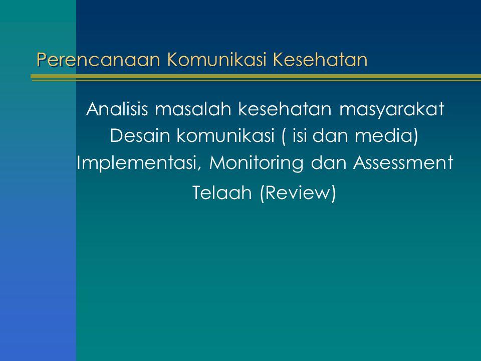 Perencanaan Komunikasi Kesehatan Analisis masalah kesehatan masyarakat Desain komunikasi ( isi dan media) Implementasi, Monitoring dan Assessment Tela
