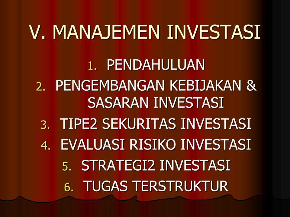 V. MANAJEMEN INVESTASI 1. PENDAHULUAN 2. PENGEMBANGAN KEBIJAKAN & SASARAN INVESTASI 3. TIPE2 SEKURITAS INVESTASI 4. EVALUASI RISIKO INVESTASI 5. STRAT