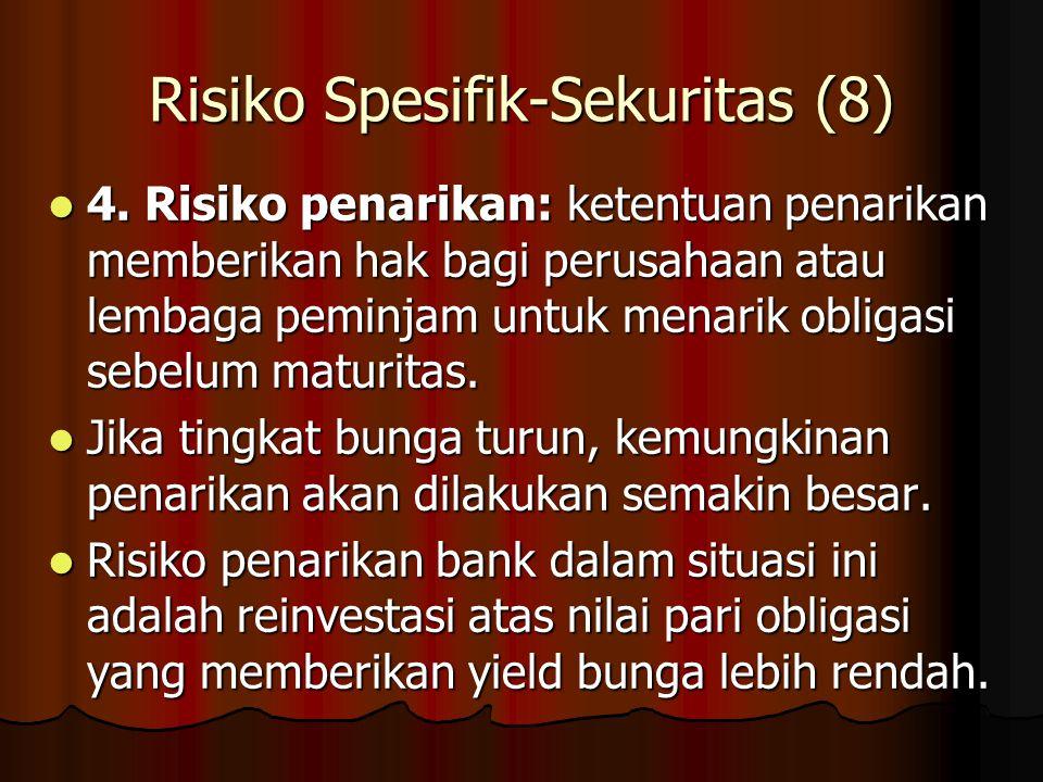 Risiko Spesifik-Sekuritas (8) 4. Risiko penarikan: ketentuan penarikan memberikan hak bagi perusahaan atau lembaga peminjam untuk menarik obligasi seb