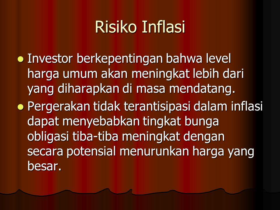 Risiko Inflasi Investor berkepentingan bahwa level harga umum akan meningkat lebih dari yang diharapkan di masa mendatang. Investor berkepentingan bah