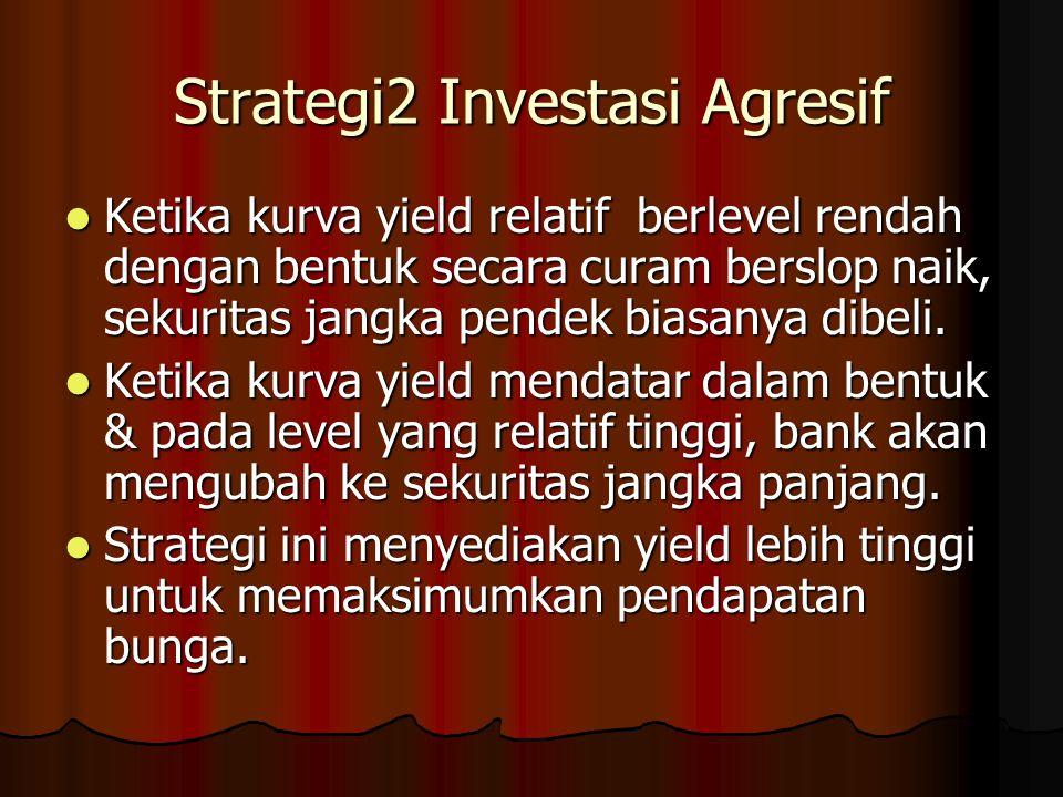 Strategi2 Investasi Agresif Ketika kurva yield relatif berlevel rendah dengan bentuk secara curam berslop naik, sekuritas jangka pendek biasanya dibel