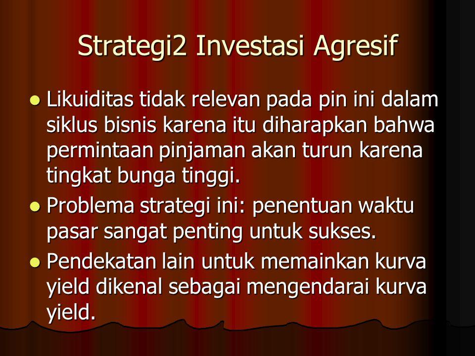 Strategi2 Investasi Agresif Likuiditas tidak relevan pada pin ini dalam siklus bisnis karena itu diharapkan bahwa permintaan pinjaman akan turun karen