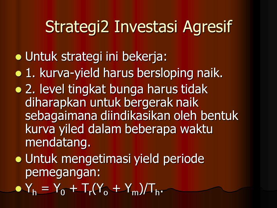 Strategi2 Investasi Agresif Untuk strategi ini bekerja: Untuk strategi ini bekerja: 1. kurva-yield harus bersloping naik. 1. kurva-yield harus berslop