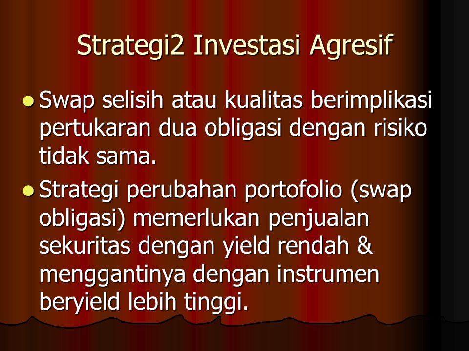 Strategi2 Investasi Agresif Swap selisih atau kualitas berimplikasi pertukaran dua obligasi dengan risiko tidak sama. Swap selisih atau kualitas berim