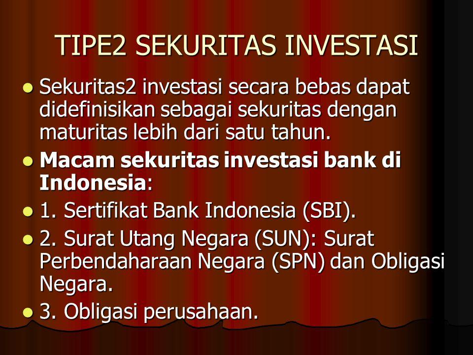 TIPE2 SEKURITAS INVESTASI Sekuritas2 investasi secara bebas dapat didefinisikan sebagai sekuritas dengan maturitas lebih dari satu tahun. Sekuritas2 i