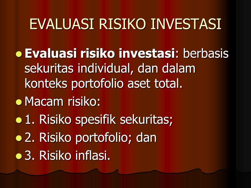 EVALUASI RISIKO INVESTASI Evaluasi risiko investasi: berbasis sekuritas individual, dan dalam konteks portofolio aset total. Evaluasi risiko investasi