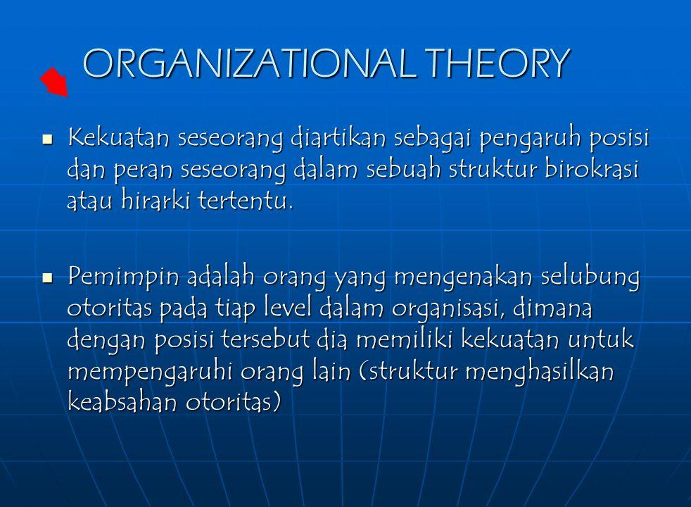 ORGANIZATIONAL THEORY Kekuatan seseorang diartikan sebagai pengaruh posisi dan peran seseorang dalam sebuah struktur birokrasi atau hirarki tertentu.