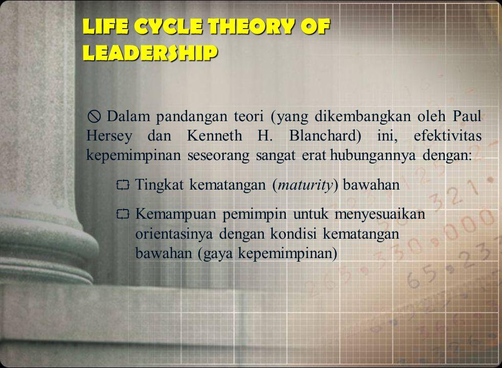 LIFE CYCLE THEORY OF LEADERSHIP  Dalam pandangan teori (yang dikembangkan oleh Paul Hersey dan Kenneth H. Blanchard) ini, efektivitas kepemimpinan se