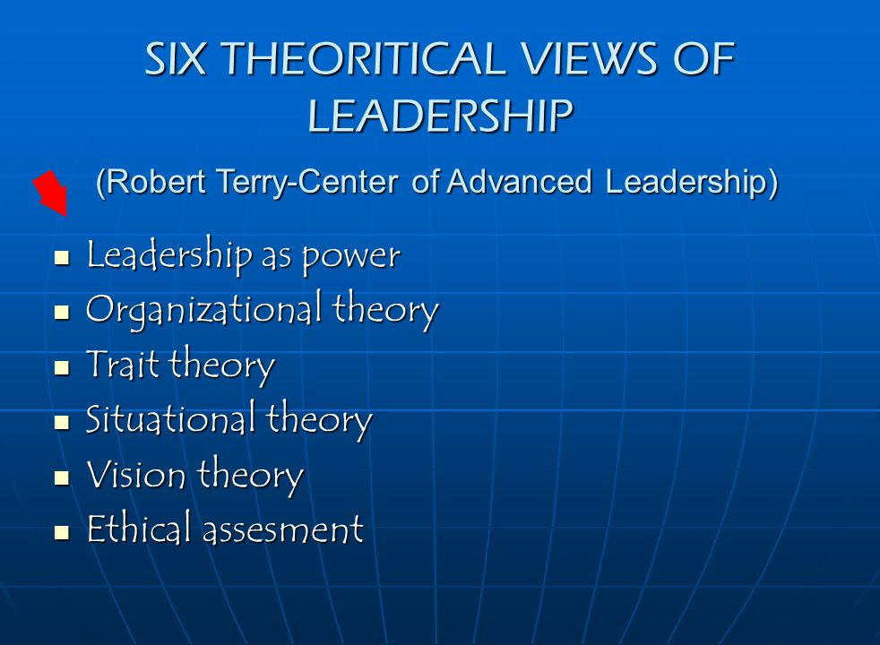 SIX THEORITICAL VIEWS OF LEADERSHIP Leadership as power Leadership as power Organizational theory Organizational theory Trait theory Trait theory Situational theory Situational theory Vision theory Vision theory Ethical assesment Ethical assesment (Robert Terry-Center of Advanced Leadership)