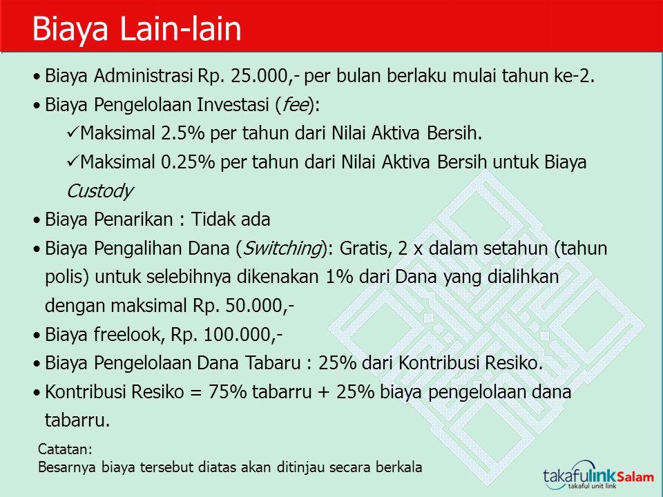 Biaya Lain-lain Biaya Administrasi Rp. 25.000,- per bulan berlaku mulai tahun ke-2. Biaya Pengelolaan Investasi (fee): Maksimal 2.5% per tahun dari Ni