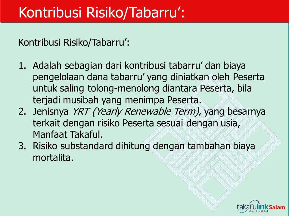 Kontribusi Risiko/Tabarru': 1.Adalah sebagian dari kontribusi tabarru' dan biaya pengelolaan dana tabarru' yang diniatkan oleh Peserta untuk saling to