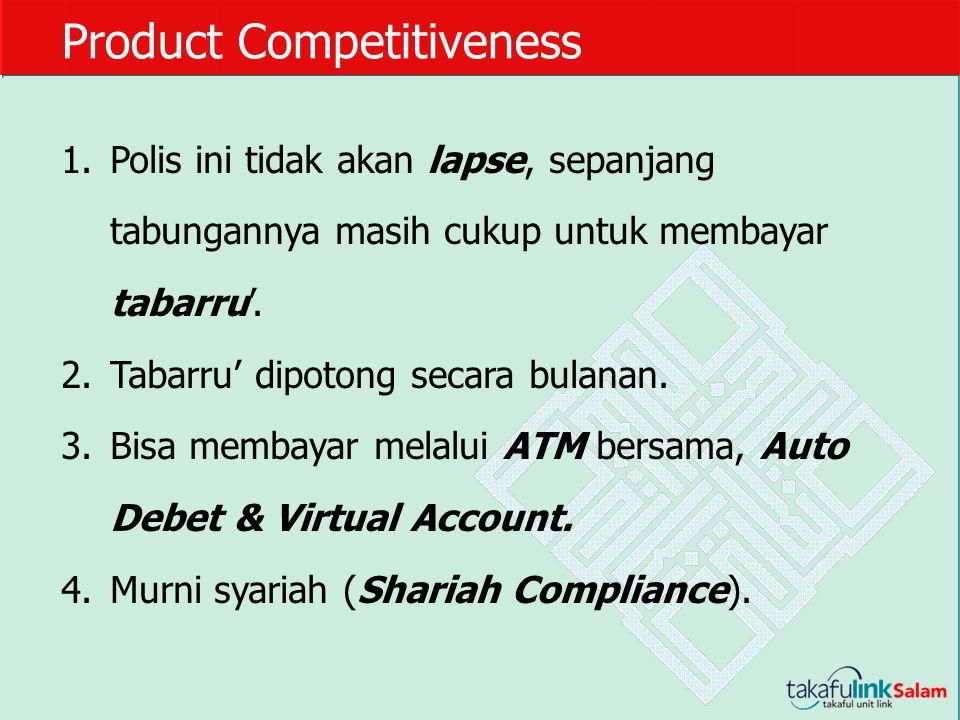 Product Competitiveness 1.Polis ini tidak akan lapse, sepanjang tabungannya masih cukup untuk membayar tabarru'. 2.Tabarru' dipotong secara bulanan. 3
