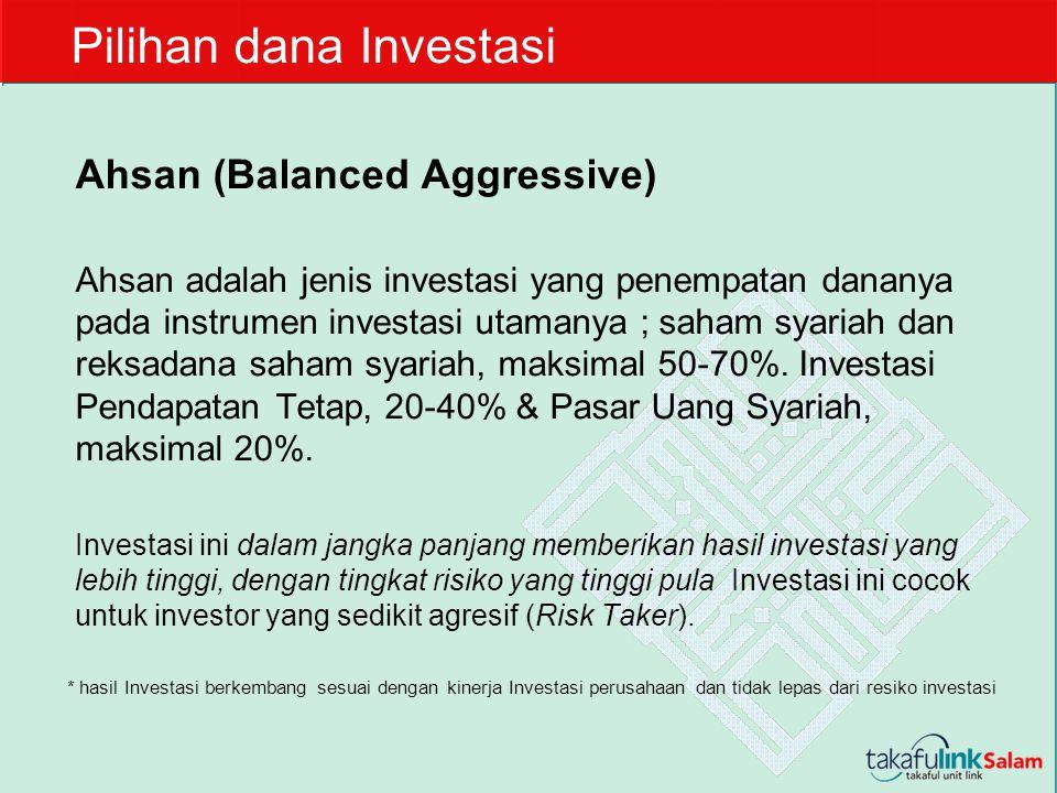 Ahsan (Balanced Aggressive) Ahsan adalah jenis investasi yang penempatan dananya pada instrumen investasi utamanya ; saham syariah dan reksadana saham