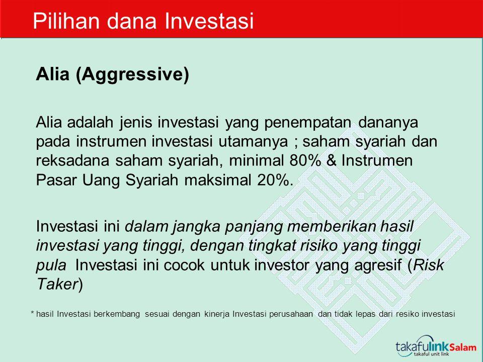 Alia (Aggressive) Alia adalah jenis investasi yang penempatan dananya pada instrumen investasi utamanya ; saham syariah dan reksadana saham syariah, m