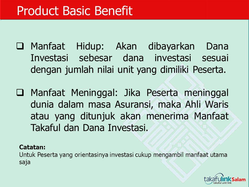 Product Basic Benefit  Manfaat Hidup: Akan dibayarkan Dana Investasi sebesar dana investasi sesuai dengan jumlah nilai unit yang dimiliki Peserta. 