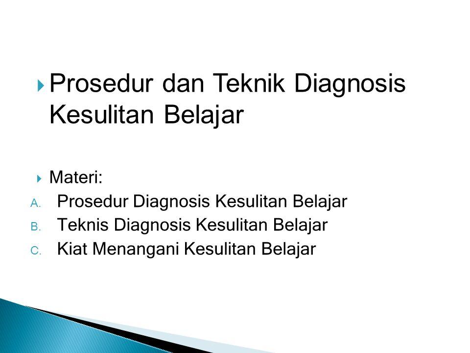 Prosedur dan Teknik Diagnosis Kesulitan Belajar  Materi: A. Prosedur Diagnosis Kesulitan Belajar B. Teknis Diagnosis Kesulitan Belajar C. Kiat Mena