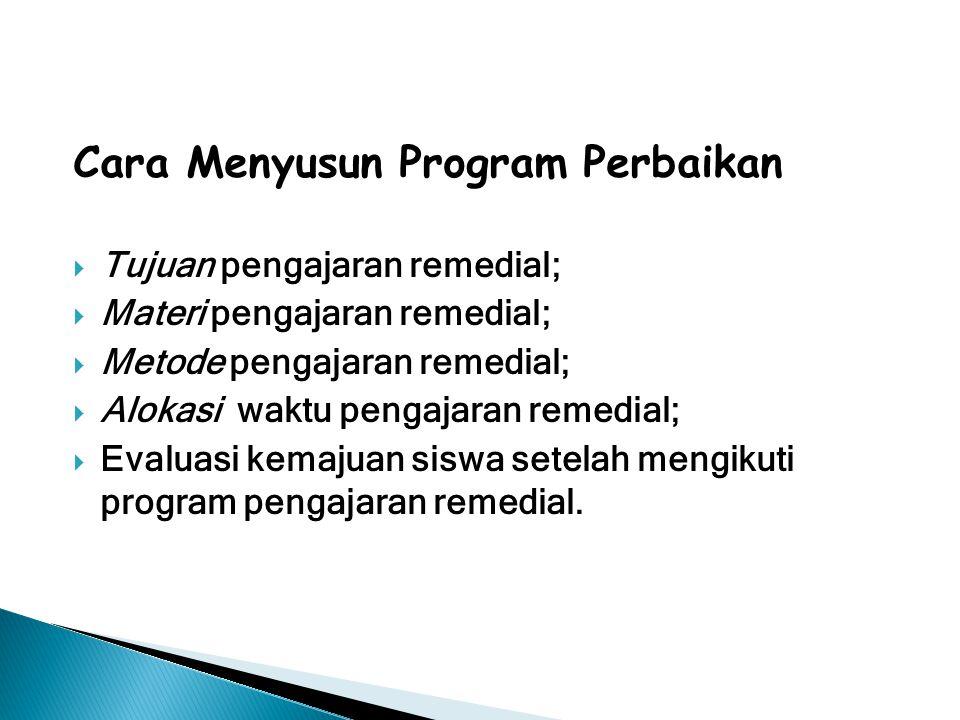 Cara Menyusun Program Perbaikan  Tujuan pengajaran remedial;  Materi pengajaran remedial;  Metode pengajaran remedial;  Alokasi waktu pengajaran r