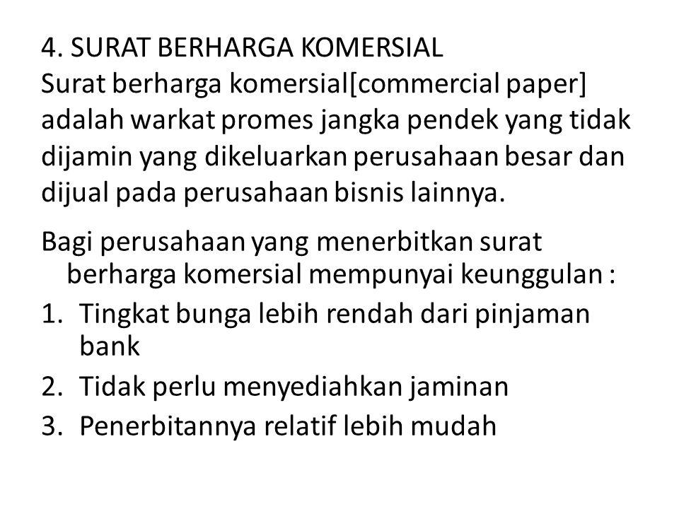 4. SURAT BERHARGA KOMERSIAL Surat berharga komersial[commercial paper] adalah warkat promes jangka pendek yang tidak dijamin yang dikeluarkan perusaha
