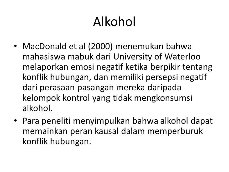 Alkohol MacDonald et al (2000) menemukan bahwa mahasiswa mabuk dari University of Waterloo melaporkan emosi negatif ketika berpikir tentang konflik hu