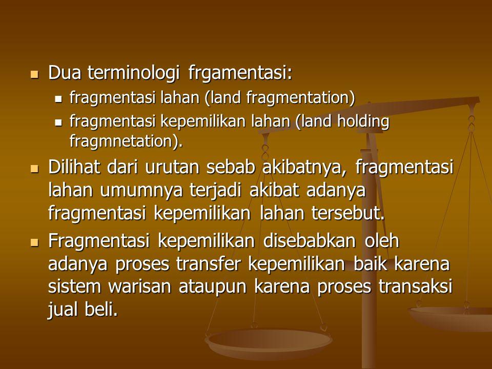 Dua terminologi frgamentasi: Dua terminologi frgamentasi: fragmentasi lahan (land fragmentation) fragmentasi lahan (land fragmentation) fragmentasi ke