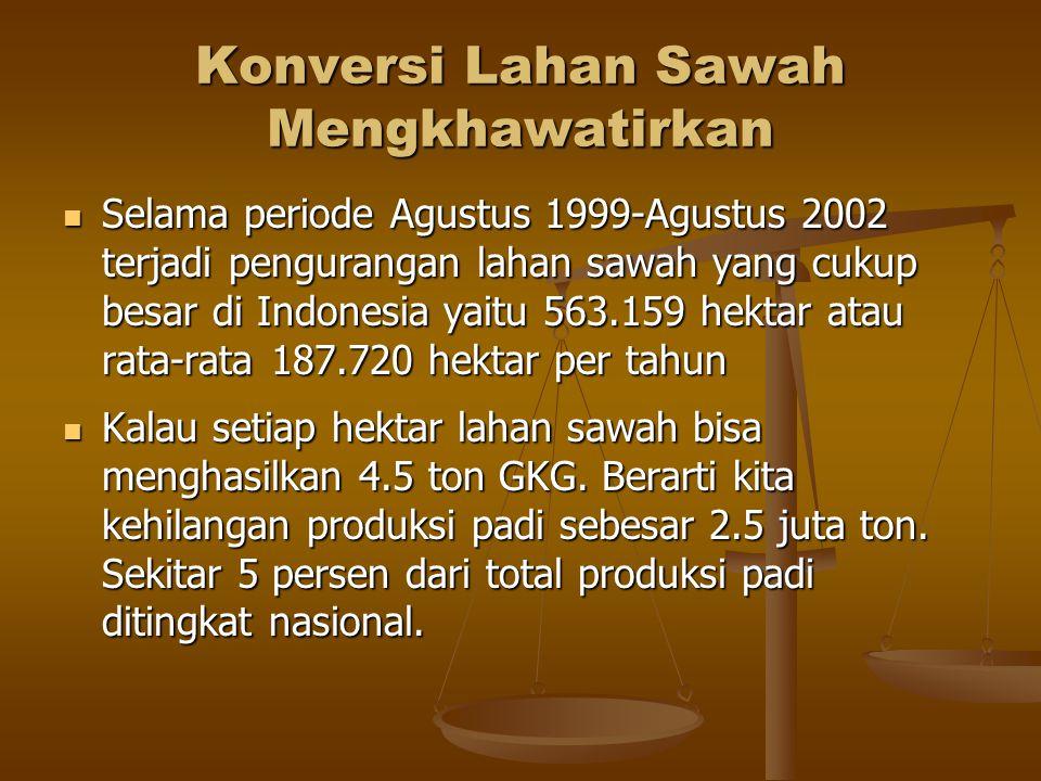 Konversi Lahan Sawah Mengkhawatirkan Selama periode Agustus 1999-Agustus 2002 terjadi pengurangan lahan sawah yang cukup besar di Indonesia yaitu 563.