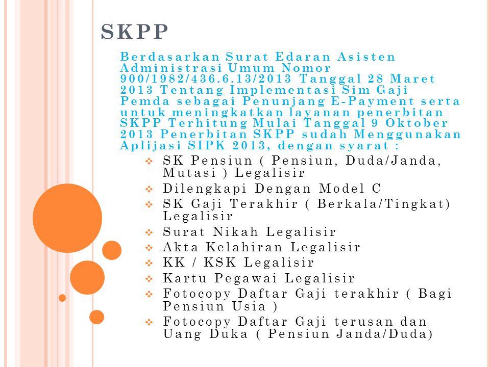SKPP Berdasarkan Surat Edaran Asisten Administrasi Umum Nomor 900/1982/436.6.13/2013 Tanggal 28 Maret 2013 Tentang Implementasi Sim Gaji Pemda sebagai
