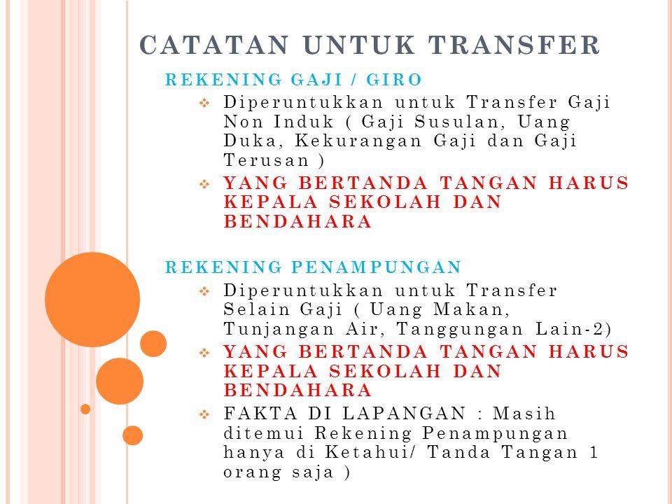 CATATAN UNTUK TRANSFER REKENING GAJI / GIRO  Diperuntukkan untuk Transfer Gaji Non Induk ( Gaji Susulan, Uang Duka, Kekurangan Gaji dan Gaji Terusan