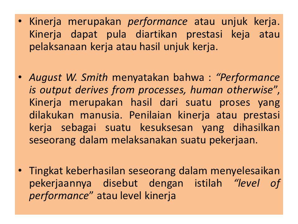 Kinerja merupakan performance atau unjuk kerja. Kinerja dapat pula diartikan prestasi keja atau pelaksanaan kerja atau hasil unjuk kerja. August W. Sm