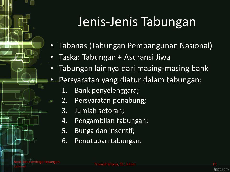 Jenis-Jenis Tabungan Tabanas (Tabungan Pembangunan Nasional) Taska: Tabungan + Asuransi Jiwa Tabungan lainnya dari masing-masing bank Persyaratan yang