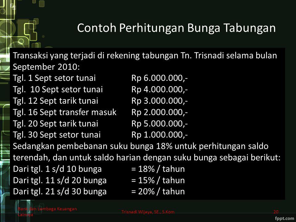 Contoh Perhitungan Bunga Tabungan Trisnadi Wijaya, SE., S.Kom20 Transaksi yang terjadi di rekening tabungan Tn. Trisnadi selama bulan September 2010: