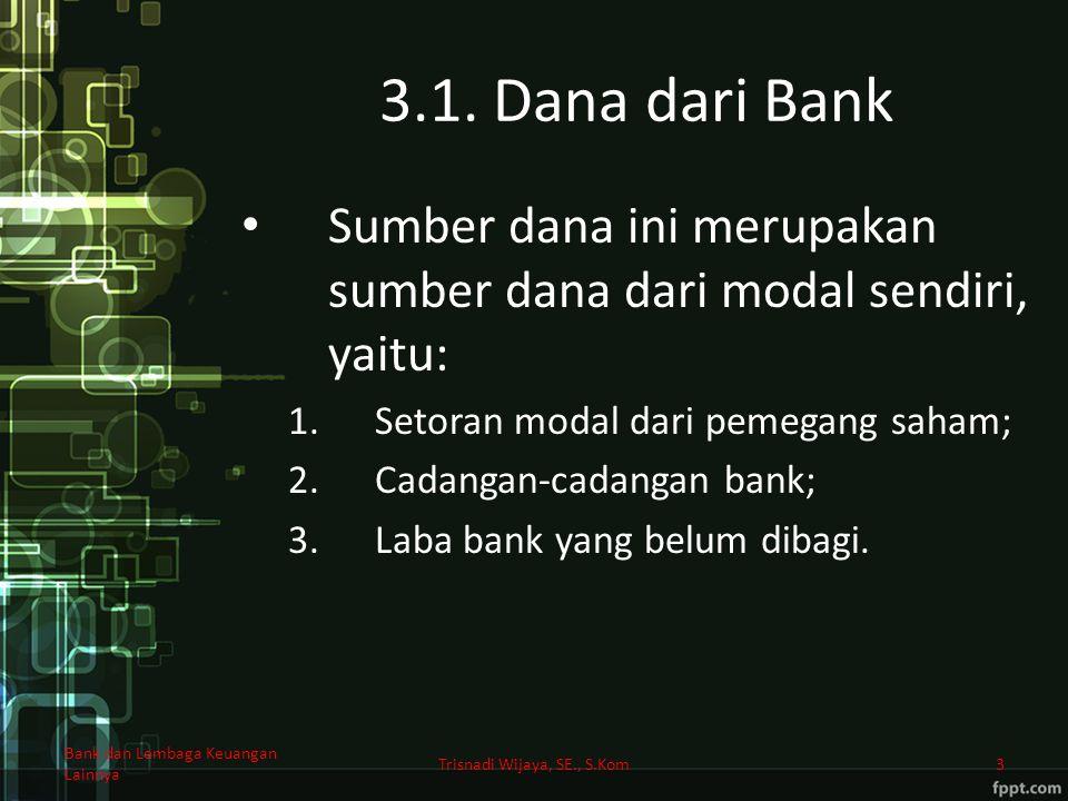 3.1. Dana dari Bank Sumber dana ini merupakan sumber dana dari modal sendiri, yaitu: 1.Setoran modal dari pemegang saham; 2.Cadangan-cadangan bank; 3.