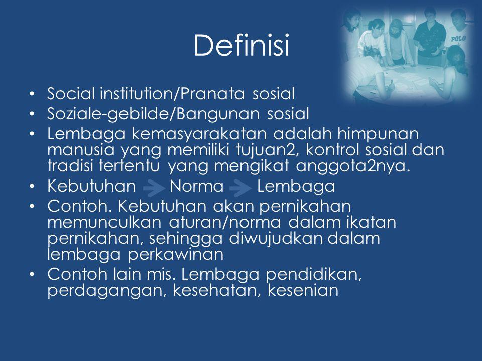 Definisi Social institution/Pranata sosial Soziale-gebilde/Bangunan sosial Lembaga kemasyarakatan adalah himpunan manusia yang memiliki tujuan2, kontrol sosial dan tradisi tertentu yang mengikat anggota2nya.