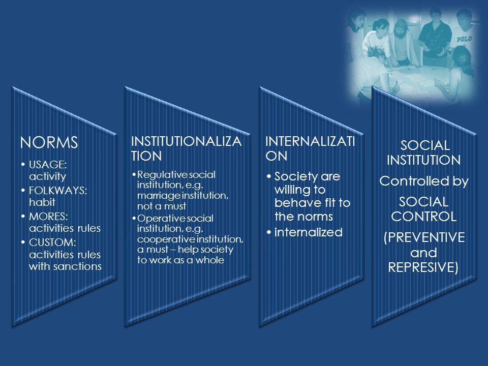 Ciri-ciri Ciri umum lembaga kemasyarakatan (Gillin and Gillin): 1.Terdiri dari adat istiadat, tata kelakuan, kebiasaan serta unsur2 kebudayaan menjadi unit fungsionil 2.Memiliki kekekalan, relatif lama karena dipelihara oleh anggota masyarakatnya 3.Memiliki tujuan2 yang sesuai dengan fungsi lembaga ybs 4.Memiliki alat2 yang mendukung lembaga tsb (mis.