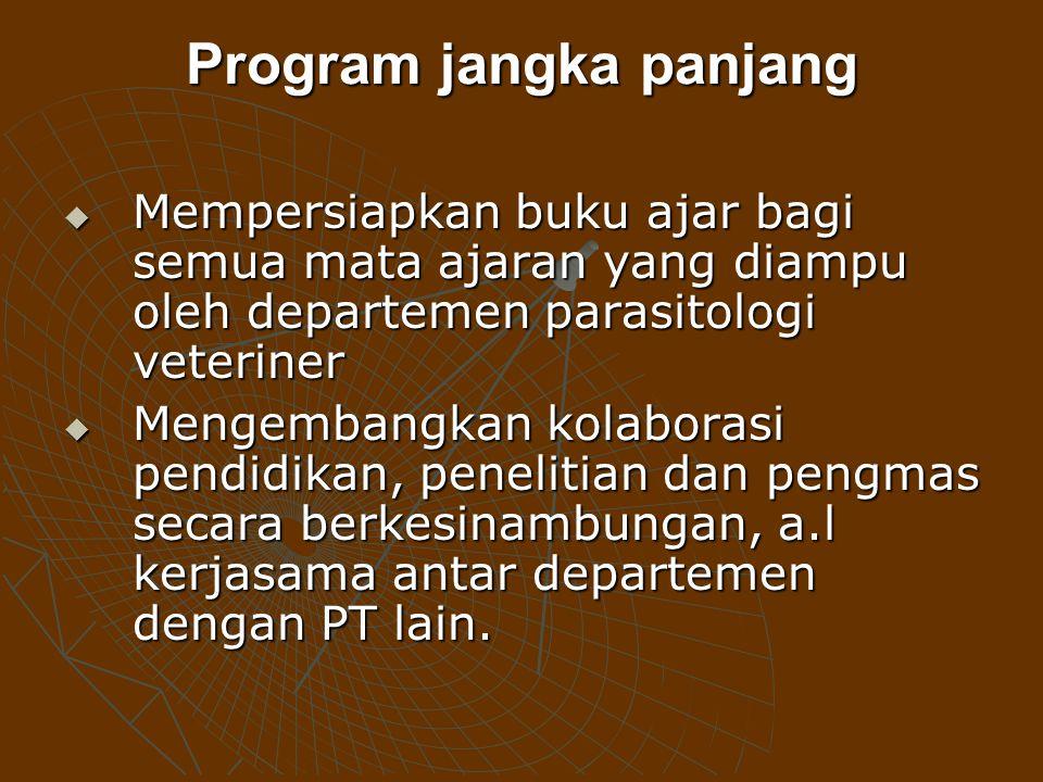 Program jangka panjang MMMMempersiapkan buku ajar bagi semua mata ajaran yang diampu oleh departemen parasitologi veteriner MMMMengembangkan k